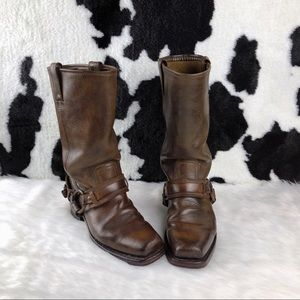 FRYE HARNESS BELTED BOOTS